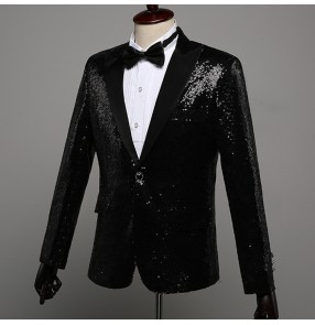 Black sequin singers performance blazers for men male competition party competition dj ds night club jazz dance host groomsman coat jackets